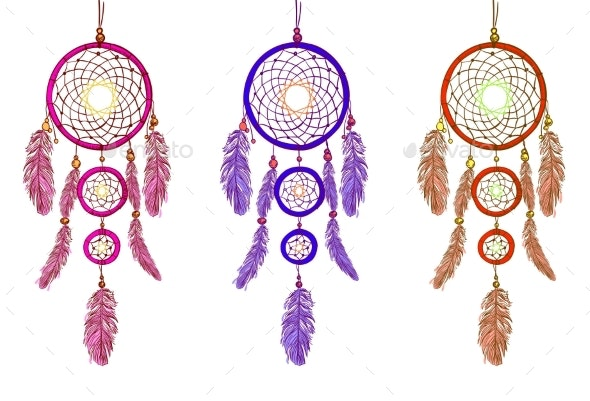 Handdrawn Dreamcatchers - Man-made Objects Objects