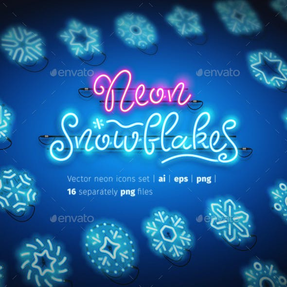 Christmas Colorful Neon Snowflakes Icons