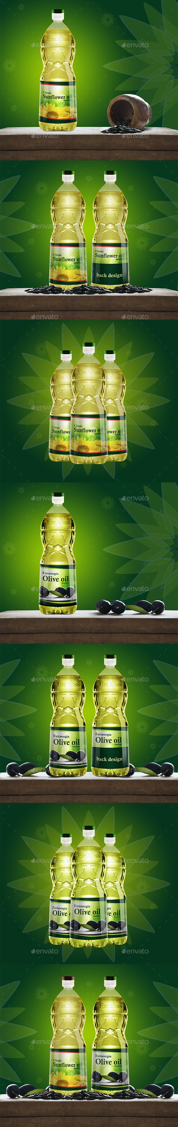 Kitchen Oil Plastic Bottle Mockup - Product Mock-Ups Graphics