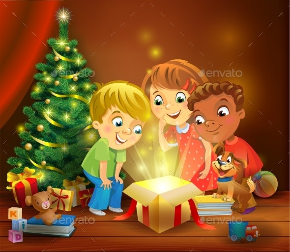 Christmas Miracle - Kids Opening a Magic Gift - Christmas Seasons/Holidays