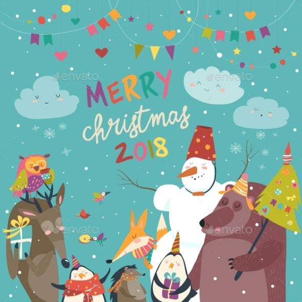 Happy Animals Celebrating Christmas - Christmas Seasons/Holidays
