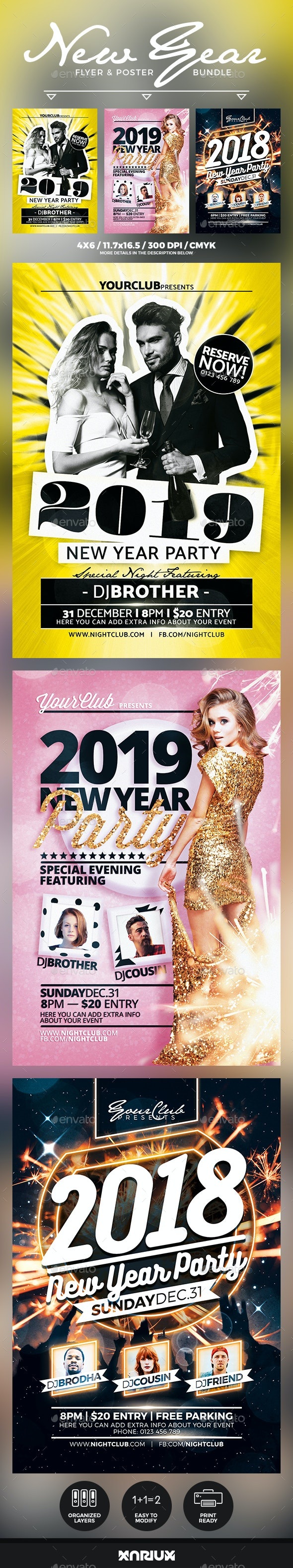 New Year Flyer & Poster Bundle - Events Flyers