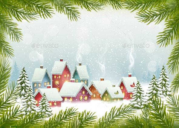 Winter Village Christmas Holiday Background - Christmas Seasons/Holidays