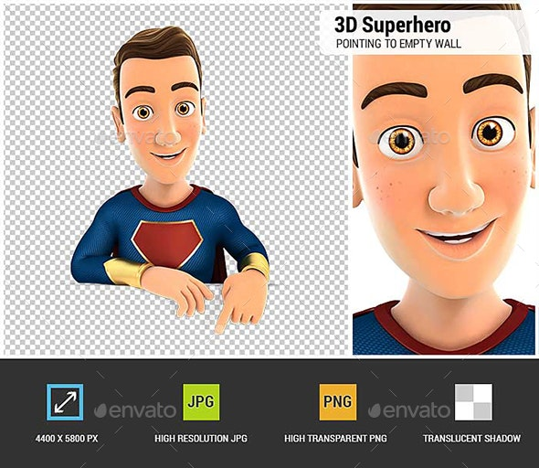3D Superhero Pointing to Empty Wall - Characters 3D Renders