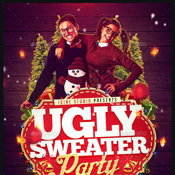 Ugly Christmas Sweater Party Flyer Template