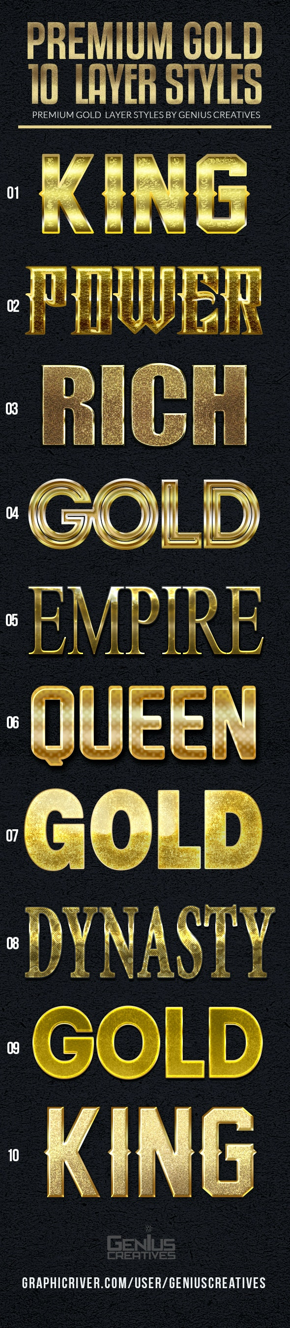 10 Premium Gold Text Styles - Text Effects Styles