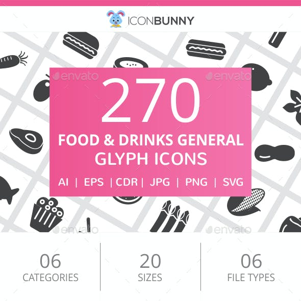 270 Food & Drinks General Glyph Icons