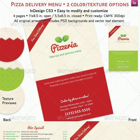 4 Page Pizzeria Menu