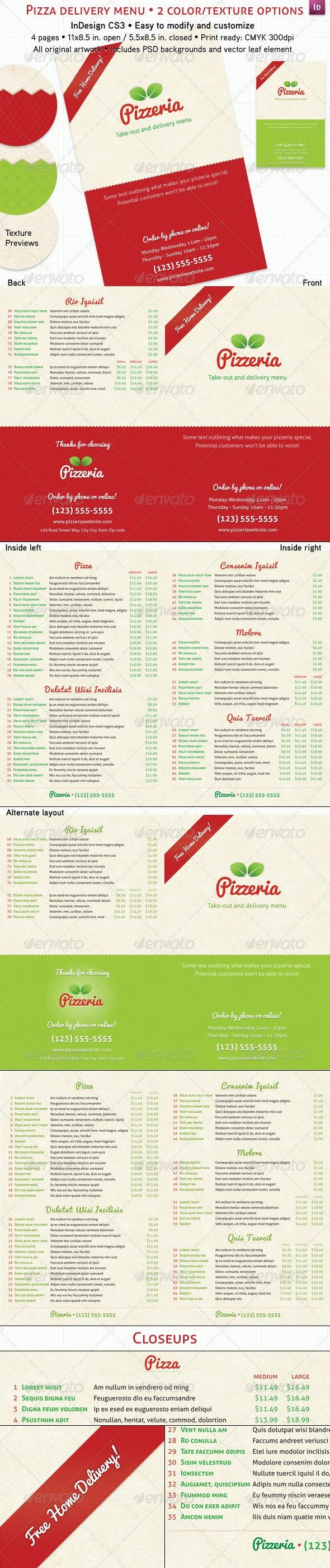 4 Page Pizzeria Menu - Food Menus Print Templates