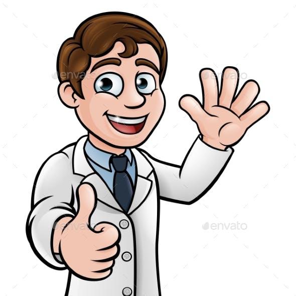 Cartoon Scientist Doctor or Lab Tech