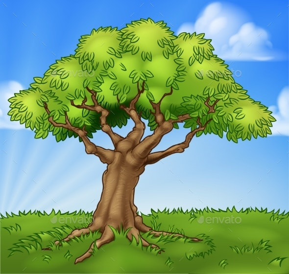 Cartoon Tree Field Landscape Background Scene - Landscapes Nature
