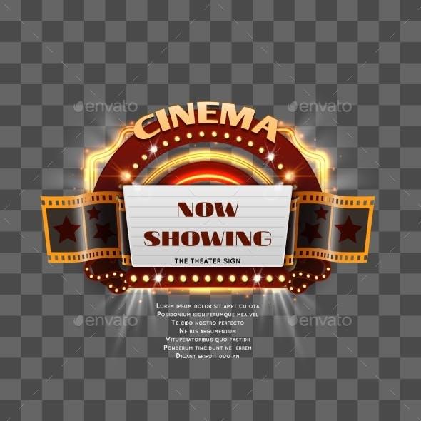Vintage Cinema Sign Isolated