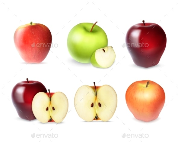 Set of Apple with Slices - Food Objects