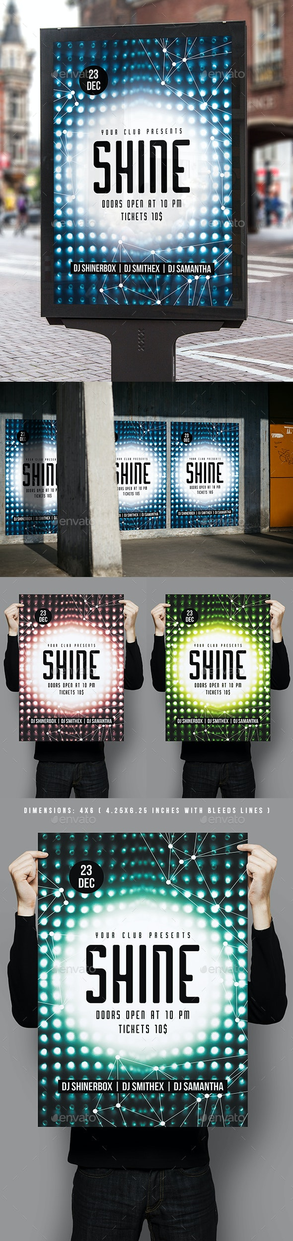 Shine Party Poster Template - Clubs & Parties Events