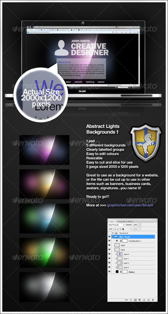 Abstract Lights Background Pack 1 - Backgrounds Graphics