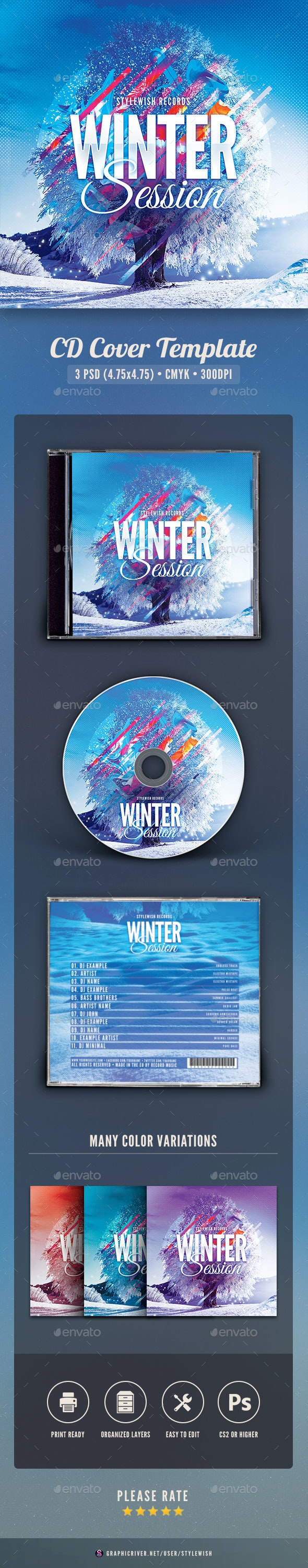 Winter Session CD Cover Artwork - CD & DVD Artwork Print Templates
