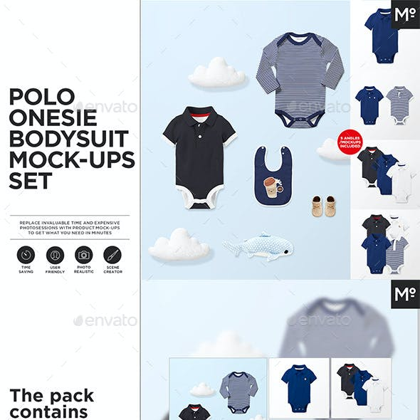 Polo Onesie Bodysuit Growsuit Mock-ups Set
