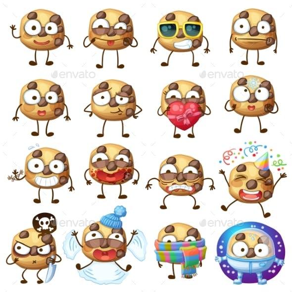 Cartoon Chocolate Chip Cookie Characters