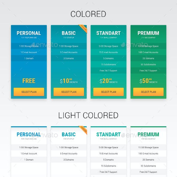 Pricing Tables: 4 styles