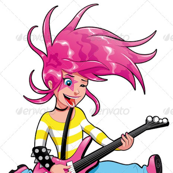 Young musician with electric guitar.