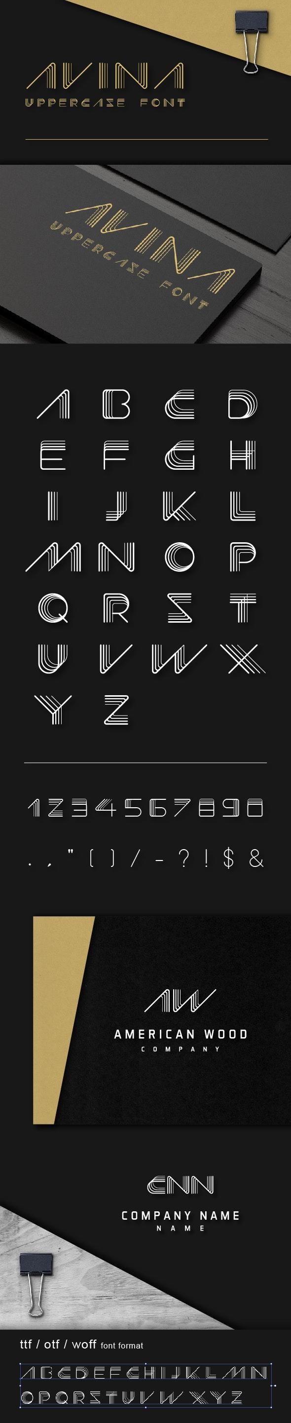 Avina Uppercase Font - Futuristic Decorative