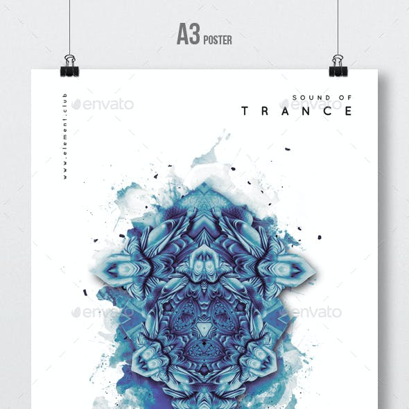 Sound Of Trance - Party Flyer / Poster Artwork Template A3