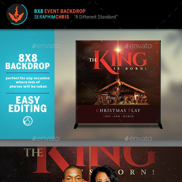 The King is Born Christmas 8x8 Backdrop Template