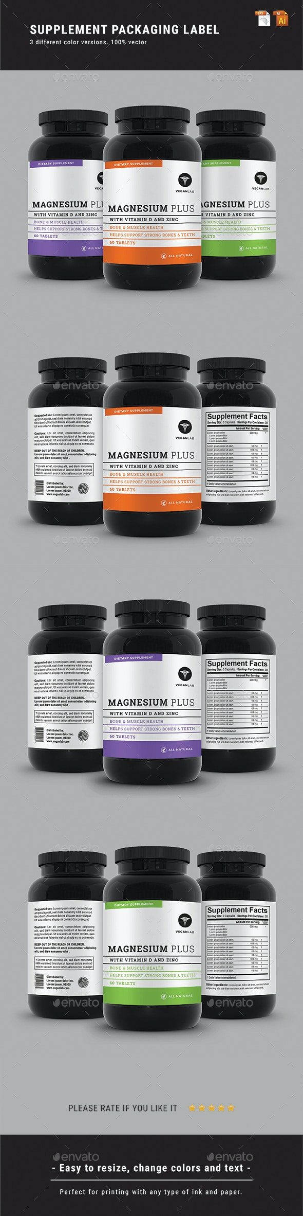 Supplement Packaging Label