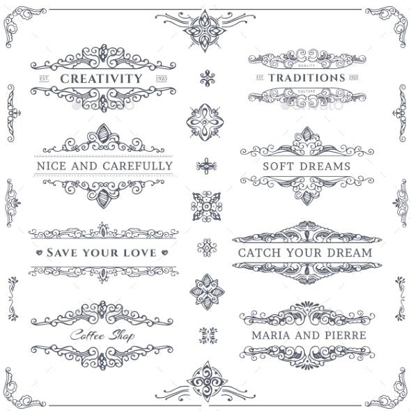 Collection of Calligraphic Ornaments - Borders Decorative