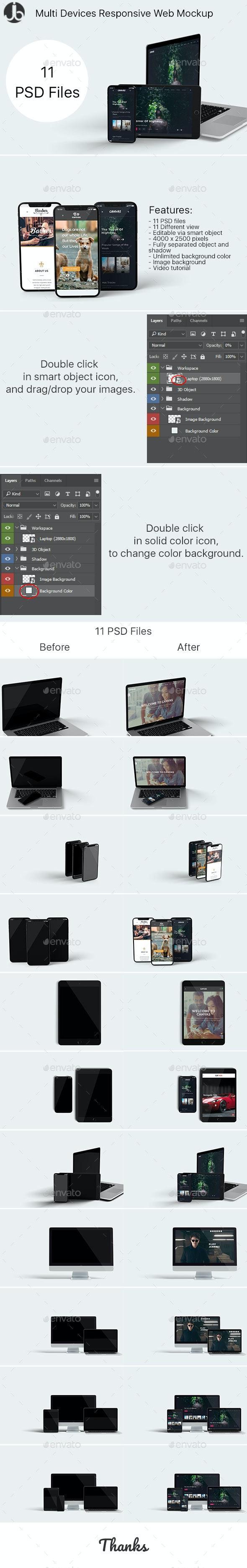 Multi Devices Responsive Website Mockup - Monitors Displays