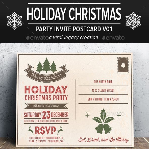 Holiday Christmas Party Postcard V01
