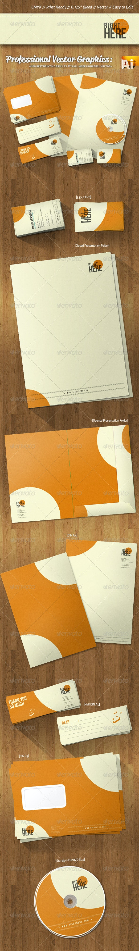 Professional Corporate Identity Retro Style Colors - Stationery Print Templates