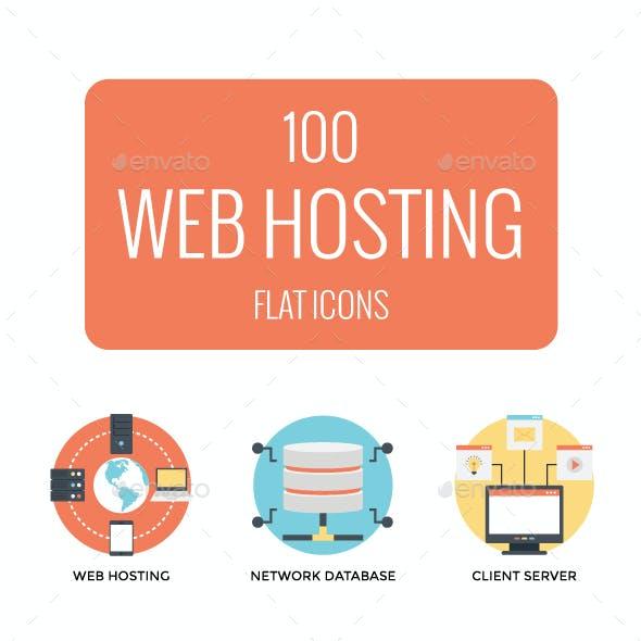 100 Flat Web Hosting Icon