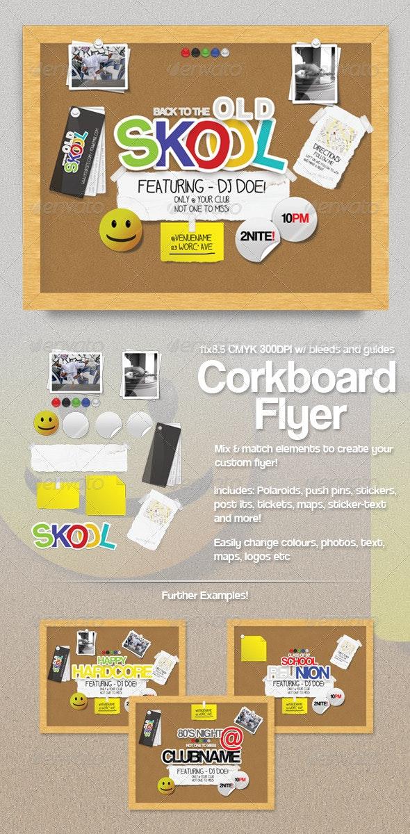 Corkboard Flyer - Clubs & Parties Events