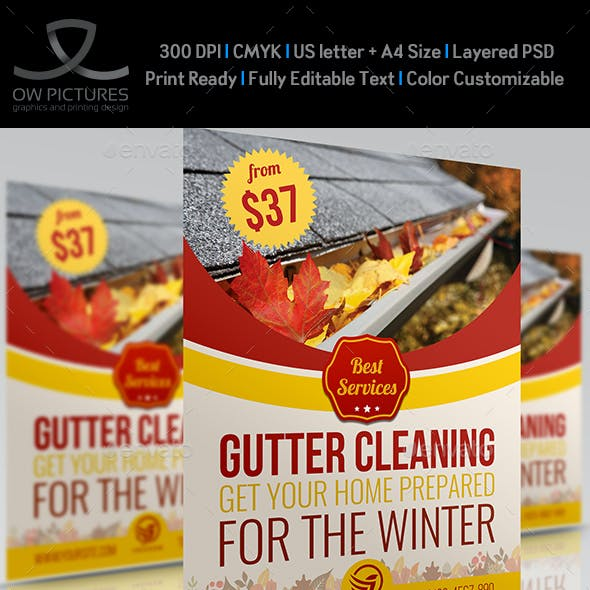Gutter Cleaning Services Flyer Template