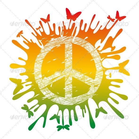 Hippie Peace Symbol - Abstract Conceptual