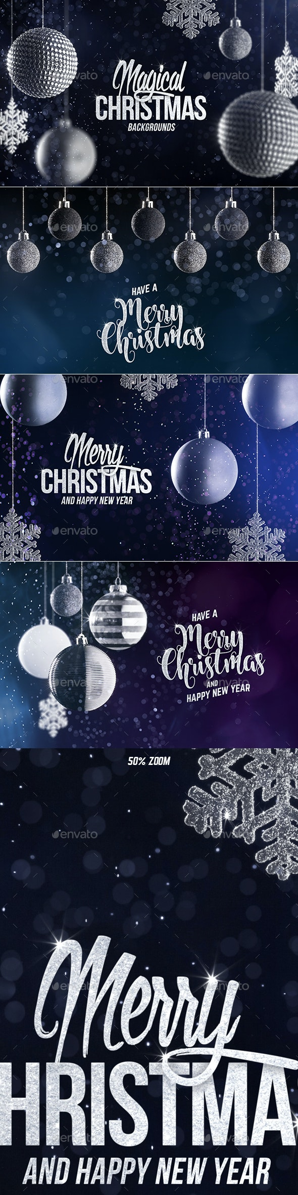 4 Christmas Backgrounds with Editable Text - Abstract Backgrounds