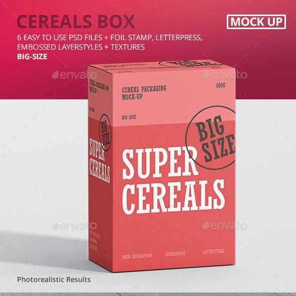 Cereals Box Mockup - Big Size