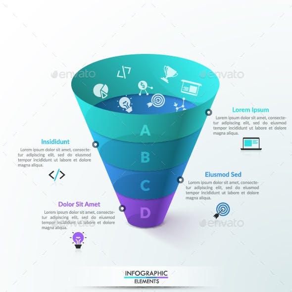 3D Transparent Funnel Infographic