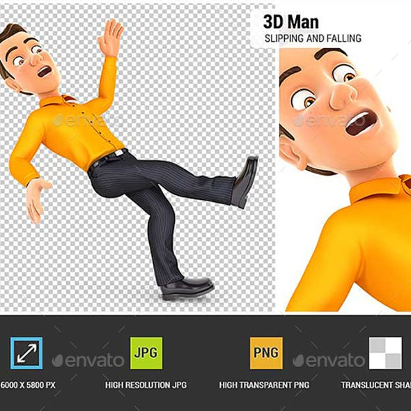 3D Man Slipping and Falling