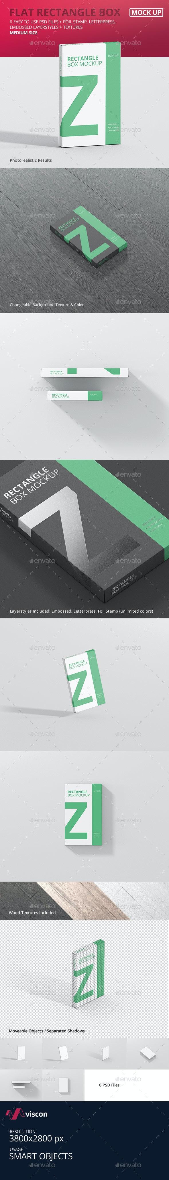 Box Mockup - Medium Size Flat Rectangle - Miscellaneous Packaging