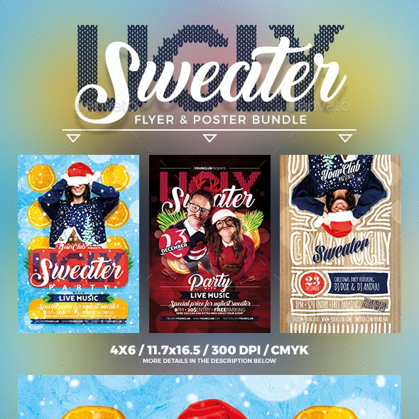 Ugly Sweater Flyer & Poster Bundle