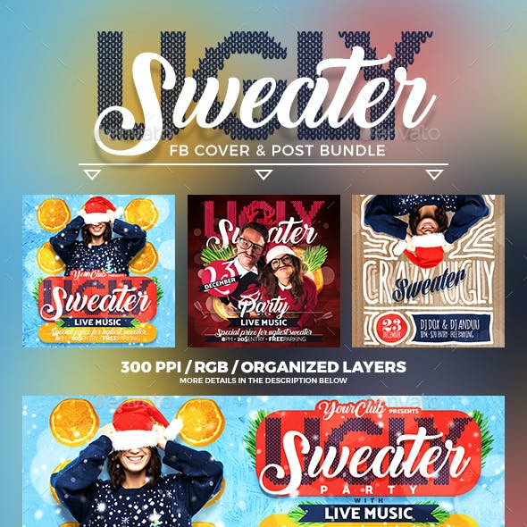 Ugly Sweater Facebook Cover Bundle
