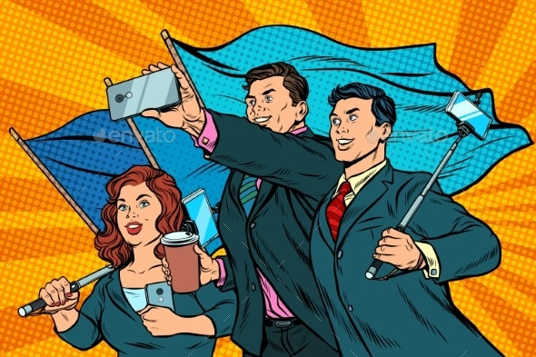 Businessmen with Smartphones and Flags - Concepts Business