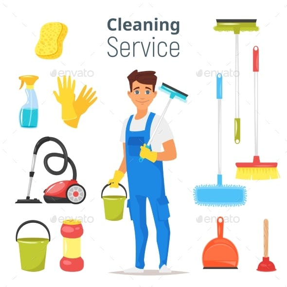 Cleaning Service Man Character