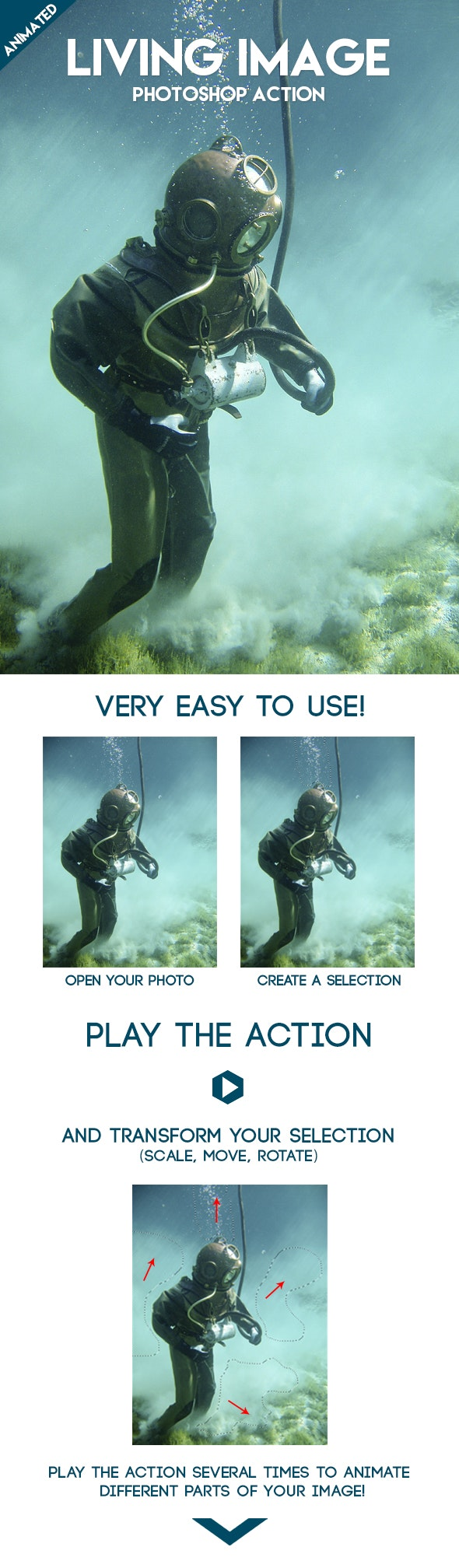 Animated Living Image Photoshop Action - Photo Effects Actions