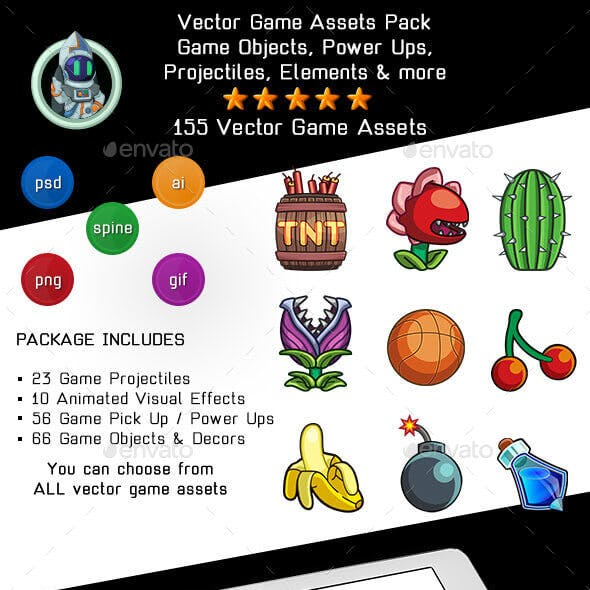Vector Game Assets Pack - Objects, Power Ups, VFX and Elements