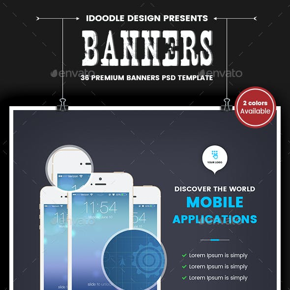 Mobile Applications Banners Ads - 2 Colors Available [36 PSD]