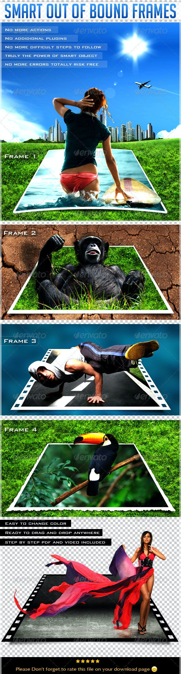 Smart Out Of Bound Frames - Photo Templates Graphics