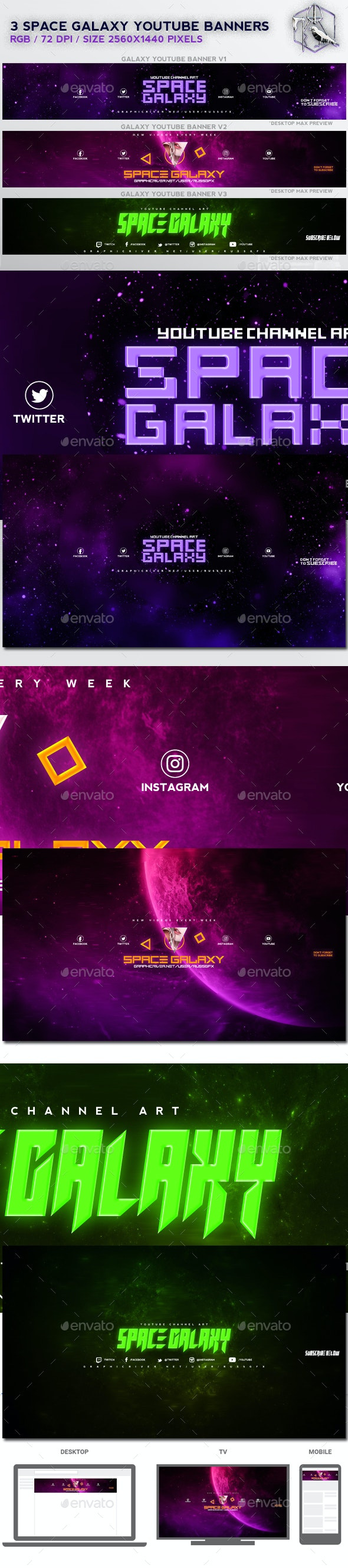 3 Galaxy Space Youtube Banners - YouTube Social Media